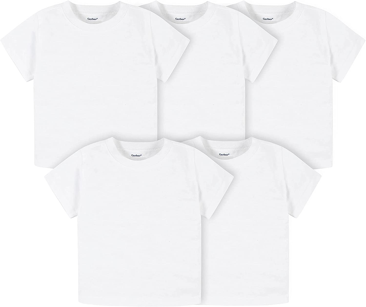 Gerber unisex-baby Toddler 5-pack Solid Short Sleeve T-shirts Jersey 160 Gsm