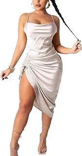 nqgsntc Women's Sleeveless Spaghetti Strap Cowl Neck Satin Wrinkle Dress Cocktail Beach Evening Party Dresses XS-L