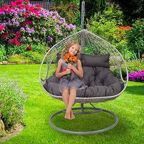 SCHAUER XXL Lounge Hängesessel Close mit Gestell + Kissen für 2 Personen Hängekorb Hängestuhl Garten Outdoor Indoor Hängeliege Gartenschaukel grau