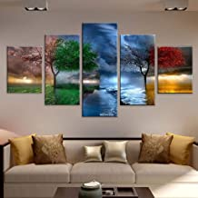 RINKOUa Wall Art for Living Room, Canvas Prints Artwork Bathroom Wall Decor Abstract Landscape Picture Watercolor Painting 5 Panel Office Bedroom Laundry Room Family Wall Decoration Home Décor (E)