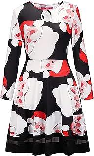 Hokny TD Womens Autumn Key Hole Christmas Pattern A Line Flared Mini Party Dresses 11 Large