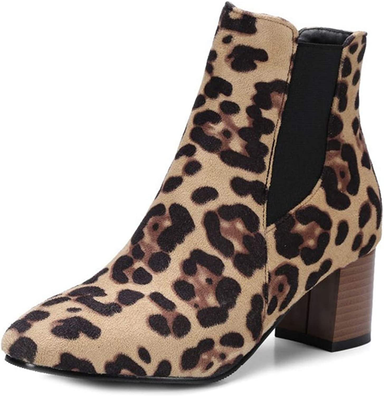GIY Women's Leopard Suede Stacked Block Heel Ankle Boots Chunky Platform Bootie Elastic Comfy Short Boot