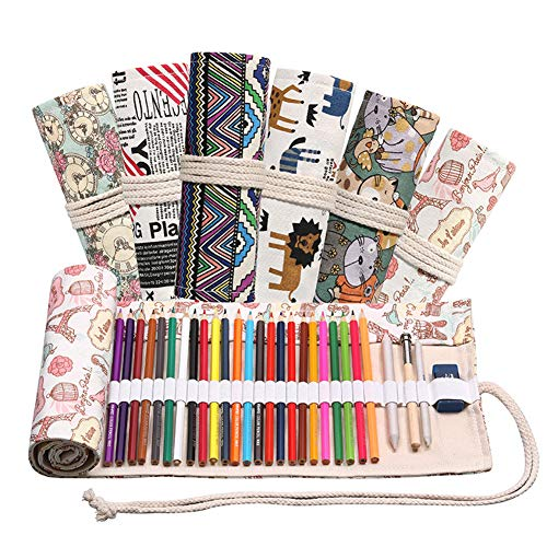 ACHICOO 12/24/36/48/72 Löcher Rolle Federmäppchen Leinwand Stifttasche für Mädchen Jungen Schreibwaren True Color 12 Löcher