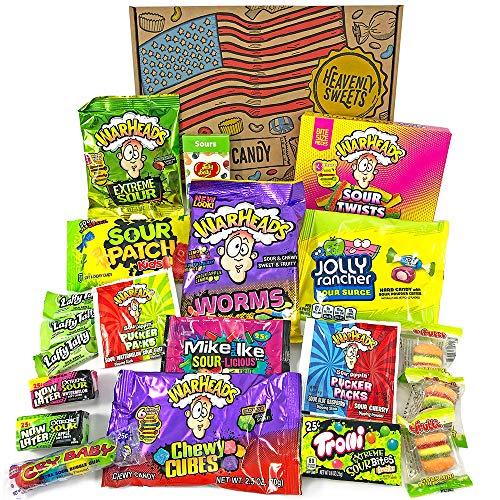 Heavenly Sweets Amerikanische Saure Süßigkeiten Geschenkbox - Warheads, Trolli, Laffy Taffy, Mike&Ike, CryBaby, Jelly Belly - Geburtstag, Halloween, Weihnachten - 20 Snacks, Retro-Box - 26x18x3.5 cm