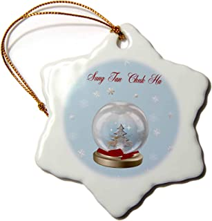 3dRose LLC ORN_160036_1 Porcelain Snowflake Ornament, 3-Inch, Snow Globe Deer, Tree and Snowflakes, Merry Christmas in Korean