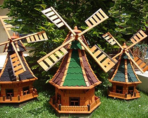 Oelbaum XL Windmühle MIT SOLAR-Beleuchtung WETTERFESTE Gartendeko für Sommer, windmühle für Garten, WMB100ro+bl-EMS KOMPLETT mit Licht SolarBeleuchtung, Licht 1 m groß rot blau