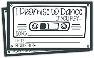 50 Retro Cassette Promise to Dance Cards - Song Request Cards for Wedding - Music Suggestion Tickets