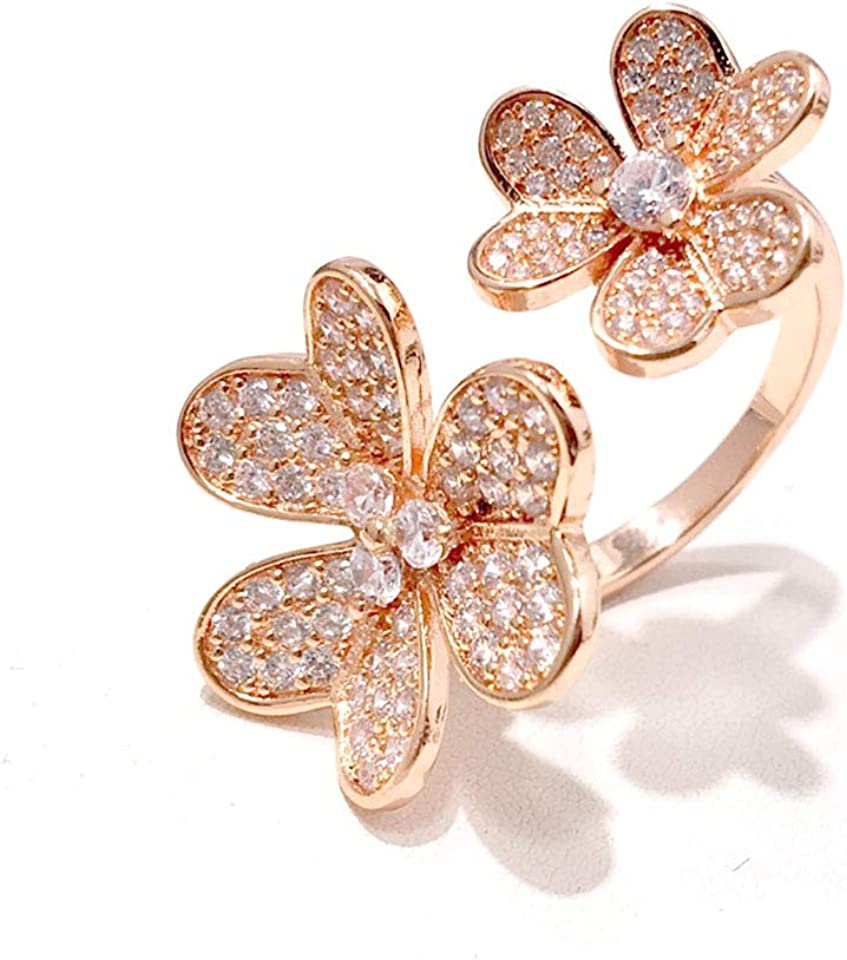 Tracey Larson Fashion 4/Four Leaf Clover 3 Flowers Open Band Rings with Diamonds S925 Silver 18K Gold for Women&Girls Valentine's Mother's Day Engagement Jewelry Gift