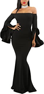 Women Off Shoulder Bell Sleeves Party Evening Gown Mermaid Maxi Dress