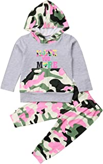Toddler Baby Girl I Love You More Lightweight Camouflage Hoodie Pants Set Outfit