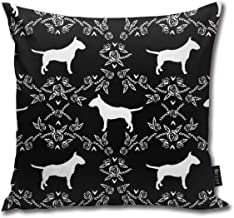 NGuns Bull Terrier Floral Dog Throw Pillow Covers Decorative Square Cushion Cases for Living Room,Couch,Bed 18 x 18 Inch