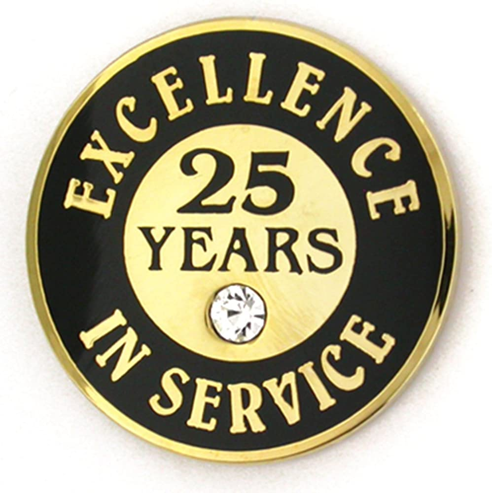 PinMart Gold Plated Excellence in Service 25 Year Award Lapel Pin