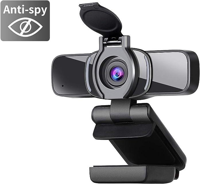 Dericam 1080P Cámara Web cámara Web USB cámara de computadora HD para Skype FaceTime Hangouts PC/Mac/Laptop/MacBook/Tablet con micrófono Incorporado y Cubierta de privacidad