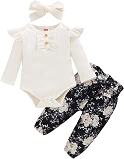 Newborn Baby Girl Clothes Long Sleeve Floral Pants Outfit Sets with Headband