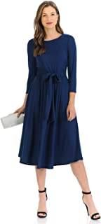 iconic luxe Women's A-Line Midi Dress with Waist Tie