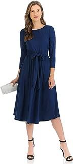 Women's A-Line Midi Dress with Waist Tie