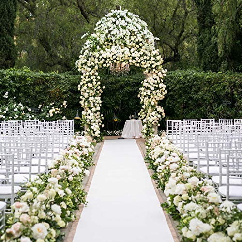 Wedding Decorations White Aisle Runner 100 x 3 ft with Floral Print and Pull String for Xmas Christmas Thanksgiving