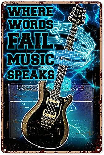 Hucuery Decoración de música para pared Guitarra eléctrica Where Words Fail Music...