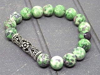 Bracciale per donna con perla tibetana centrale in filigrana e perle di giada colorate in verde e nero