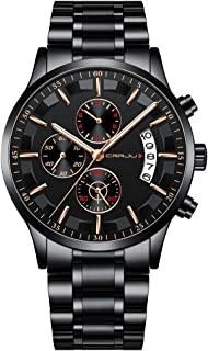 CRRJU Men Watches Chronograph Stylish Dress Stainsteel Steel Band Waterproof Watch