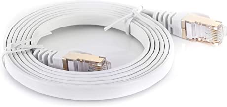 Cat7 White Ethernet Cable 15Ft 1 Pack Double Shielded Flat Cable - High Speed Internet Network Cable Up to 10 Gigabit-Gold Plated Rj45 Connectors (15, White)