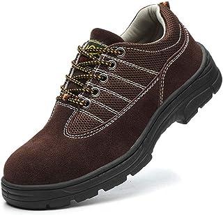 Chaussures de sécurité pour homme avec coque en acier - Chaussures de travail en cuir respirant - Semelle intermédiaire de...