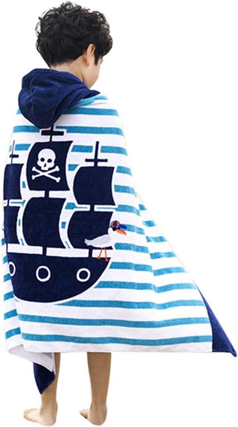 100% Algodón Toalla Playa Algodon Toalla de Playa Grande Poncho Toalla Niña Niño Playa Piscina Nadar Baño Fiesta Barco Pirata