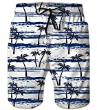 uideazone Mens Bathing Suits Coconut Tree Pattern Swim Trunks 3D Graphic Quick Dry Swimming Shorts Funny Beach Boardshorts with Mesh Lining Blue White
