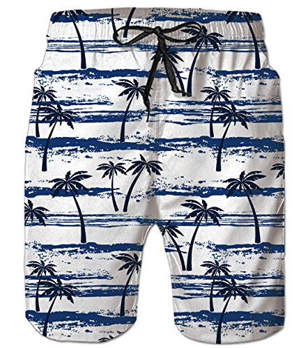 uideazone Mens Coconut Tree Swim Trunks Quick Dry Summer Swimming Shorts for Beach Hawaiian Style Bathing Suits Blue White