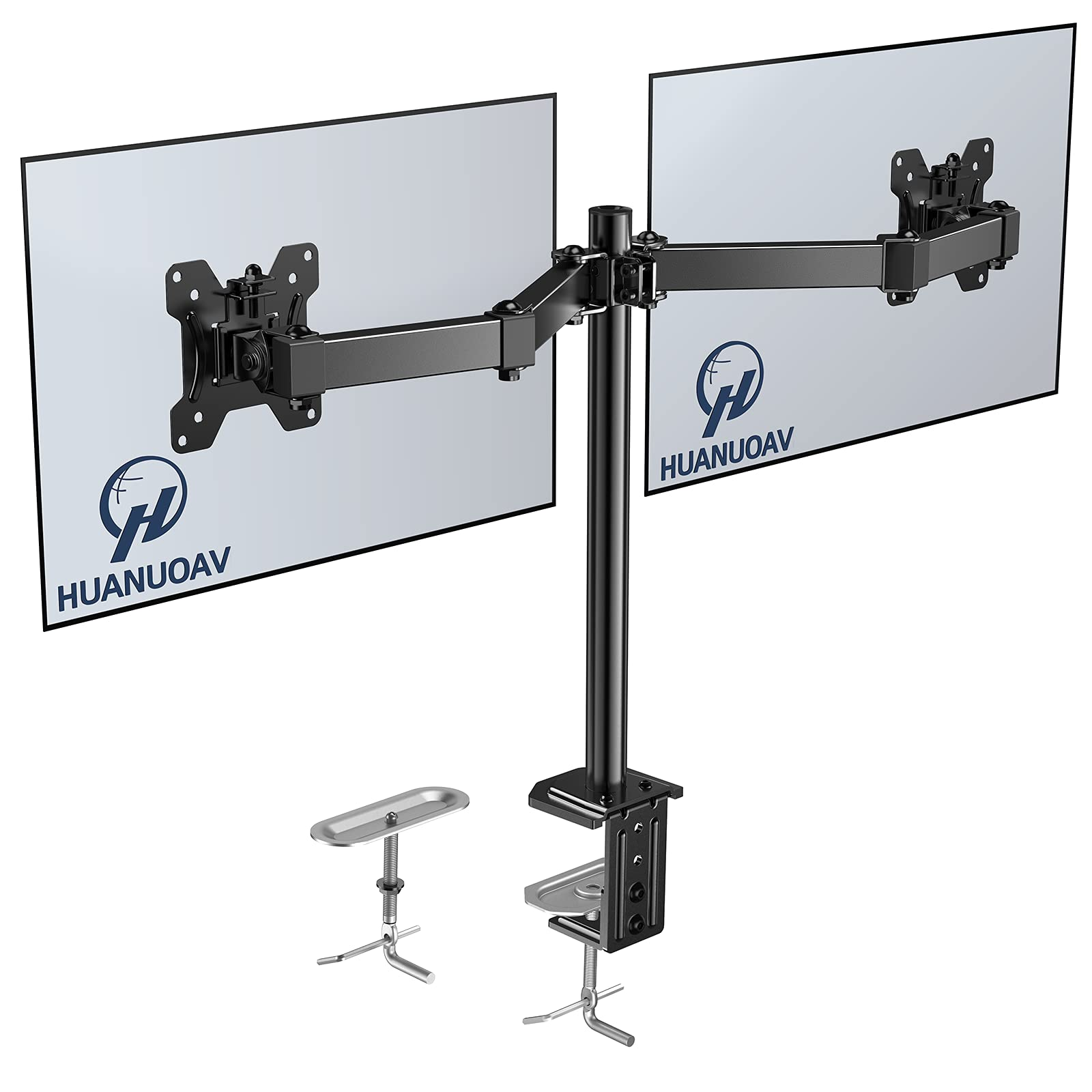 Double Monitor Stand - Dual Monitor Mount Desk Arm with C Clamp, Grommet Mounting Base for Two 13-27 Inch LCD Computer Screens - Each Holds up to 17.6lbs