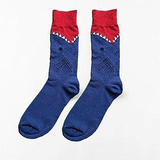 YAOSHIBIAN-Socks En el Tubo Rayas de Cebra Cocodrilo Serie Animal Personalidad Pareja Calcetines Largos -4 Pares Color de Moda Calcetines de Hombre, Casual Comodo (Color : Blue Megalodon)