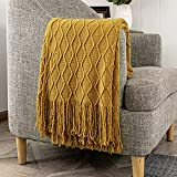 Oarless Throw Blankets for Couch, Knitted Lightweight and Soft Textured Couch Blanket with Decorative Tassels for Sofa, Bed and Armchair for Women(50'x60', Mustard Yellow)