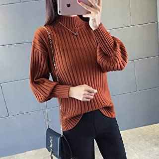 BINGSL JerséIs SuéTer,Suéteres de Cuello Alto sólidos Mujer Invierno Moda Linterna Manga Cachemira Jerseys de Punto Slim F...