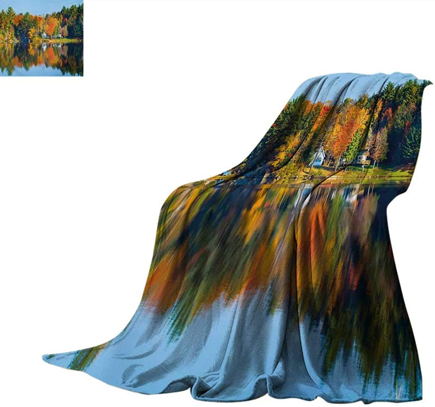 Landscape Weave Pattern Blanket Autumn Fall Landscape with orange Marigold Leaves Lake Houses and Clear Sky Image Summer Quilt Comforter 60 x50  Multicolor