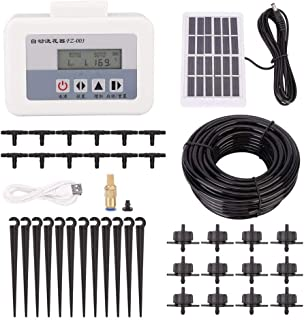 Automatic Irrigation System Watering Timer Kit, Solar Intelligent Drip USB Charging Water Irrigation System Garden Auto Wa...