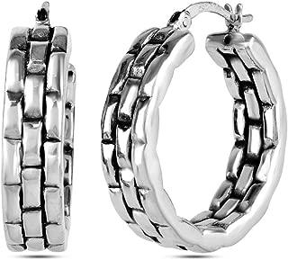 Sterling Silver Jewelry Light Weight Antique Hoop Earrings for Women