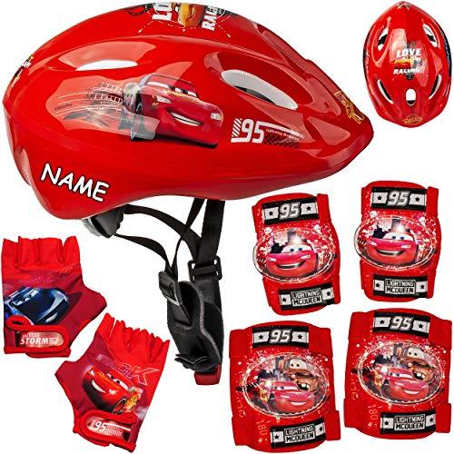 alles-meine.de GmbH 7 TLG. Set: - Sicherheitsset - Kinderhelm / Fahrradhelm + Fahrradhandschuhe + Knie & Ellenbogenschützer - inkl. Name - Disney Cars - Auto - Lightning McQueen ..