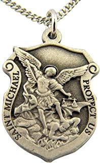 Religious Gifts Silver Tone Saint Michael Protect Us Shield Shaped Medal, 1 Inch