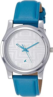 Fastrack Women's Silver Dial Leather Band Watch - 6046SL04