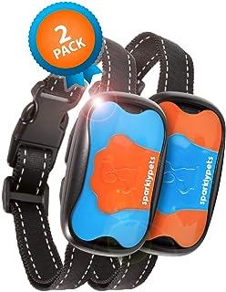 SparklyPets Humane Dog Bark Collar 2 Pack | Anti Barking Training Collar | Vibrating, No Shock Stop Barking for Small Medi...