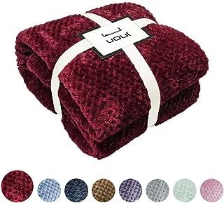 U UQUI Burgundy Fleece Throw Blanket for Twin Bed Flannel Blanket Extra Soft Microfiber Bed Blankets for Sofa 59