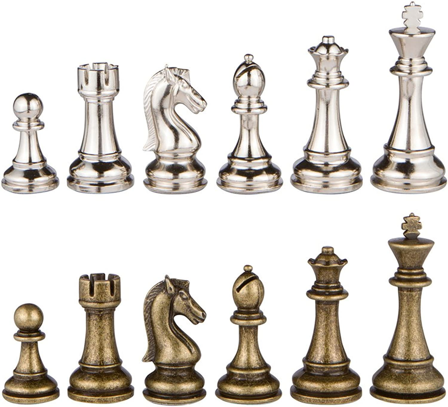 Neptune Silver and Bronze Metal Chess Pieces with Extra Queens – Pieces Only – No Board – 3.5 Inch King