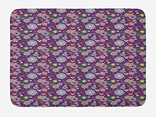 MLNHY Hippie Bath Mat, Sixties Style Illustration with Peace and Love Themes Hearts Flowers and Circles, Plush Bathroom Decor Mat with Non Slip Backing, 23.6 W X 15.7 W inches, Multicolor