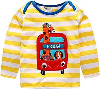 HILEELANG Toddler Little Boy Kid Cotton Long Sleeve T Shirts Cute Cartoon Stripe Top Tee