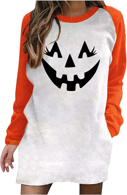 Haozin Women's Sweatshirt Dresses Portland Cheap super special price Mall Tops Round Fashion Casual Neck