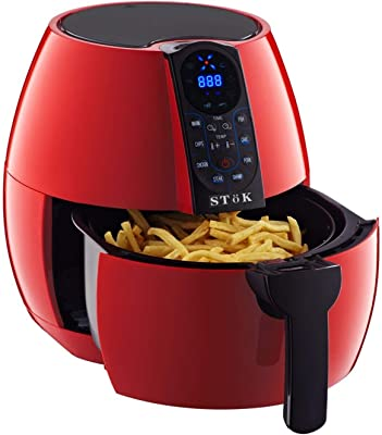 SToK Digital Air Fryer 4 Liter/4.2QT 1500-Watt with Smart Rapid 3D Air Technology with Free Double Layer Grill (RED)