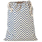 Hallmark 20' Extra Large Reusable Wrap for Christmas, Hanukkah, Father's Day, Birthdays Fabric Drawstring Gift Bag, X, Ivory and Blue Chevron Stripe