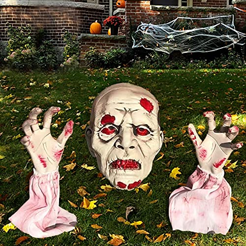 BNUZEIYI Halloween Decorations Outdoor Realistic Skeleton Stakes Halloween Zombie Face Arm Yard Lawn...