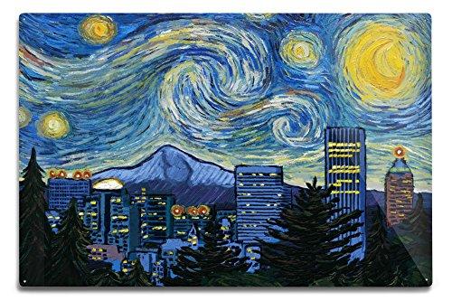 Lantern Press Portland, Oregon, Skyline, Van Gogh Starry Night (12x18 Aluminum Wall Sign, Wall Decor Ready to Hang)