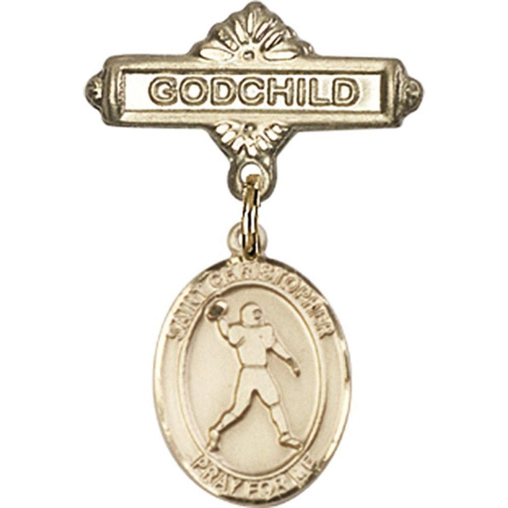 Gold Filled Baby Popular brand in the world Badge with St. Football Charm Christopher and Cheap SALE Start G